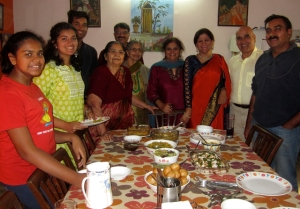 The Chaat Party (L-R) Shreerupa, Srishti, Shantanu, Divye's mum (front), Neeraj and his mum, Nanveet, Sonia, Kuldip and Divye