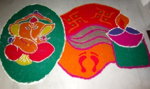The Rangoli at Sunny and Gauri's house