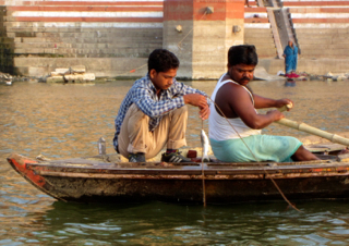 The Nishadraj Ghat where boatmen and fishermen drop anchor